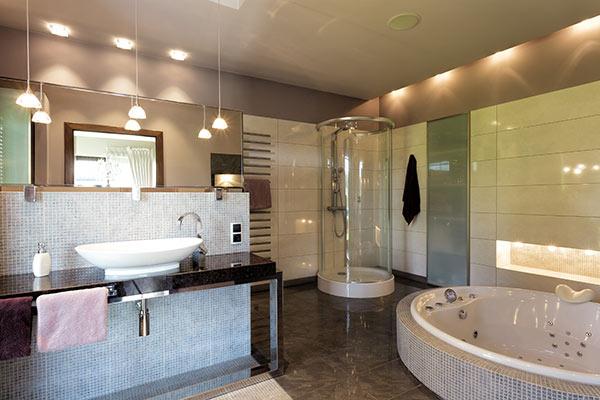 beautiful bathroom lighting whirlpool bath